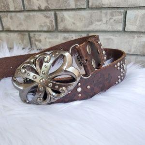 BKE meadow brown bling belt buckle embossed